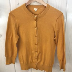 J. Crew Mustard Yellow Cardigan